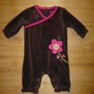 Carter's Baby Girl Brown Velour Pink Flower Long Sleeve Romper Sleeper 3 Months