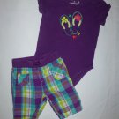 Jumping Beans Baby Girls Flip Flops Bodysuit Plaid Capri Pants Outfit 12 Months