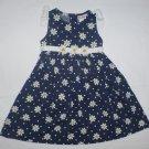B.T. Kids Girls Blue White Daisy Sleeveless Floral Easter Corduroy Dress Size 4T