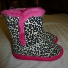 NWT The Children's Place Girls Animal Print Pink Faux Fur Boots Size 10