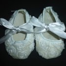 Baby Girl White Floral Rose Embellished Ballerina Ballet Flats Crib Shoes 6-12 M