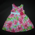 Rare Editions Girls Turquoise Pink Floral Sleeveless Easter Dress Size 4