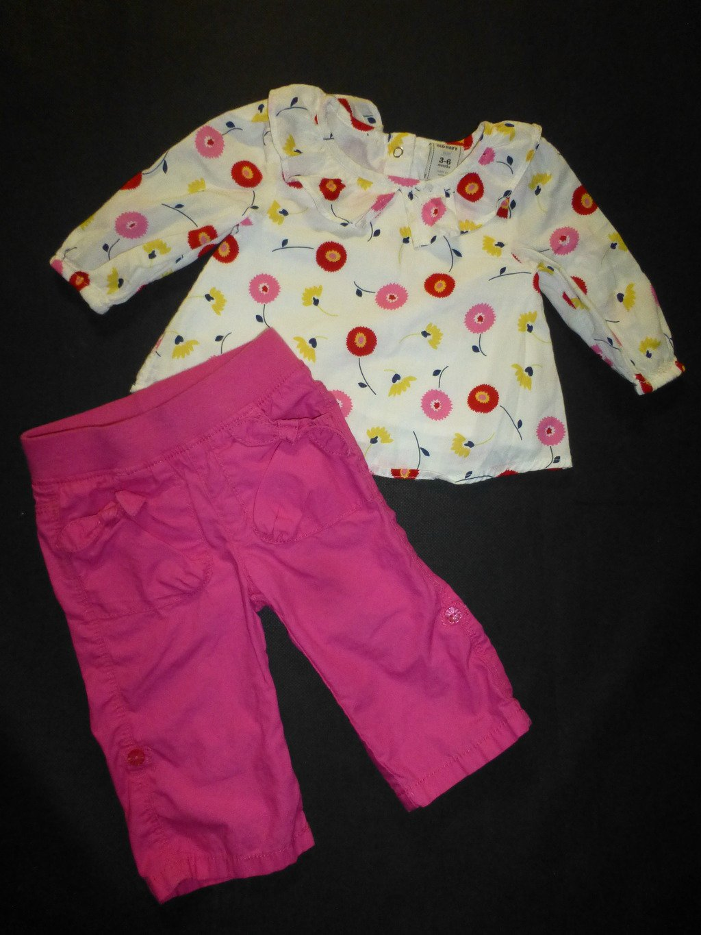 Old Navy Baby Girl White Long Sleeve Floral Tunic Top Pink Pants Outfit 3-6 M