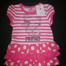 NWT Borderline Baby Girl Pink Striped Kitty Cat Sleeveless Tutu Dress 6-12 M