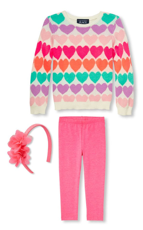 NWT The Children's Place Heart Sweater Leggings Flower Headband Girl Outfit 2T