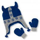 NWT The Children's Place Baby Boys Viking Pom Pom Hat And Mittens Set 6-12 M