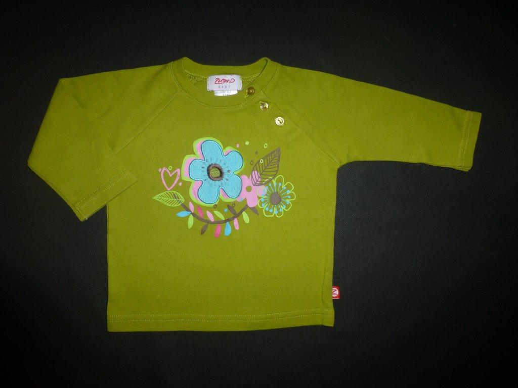 Zutano Baby Girls Green Flower Long Sleeve Shirt 12 Months