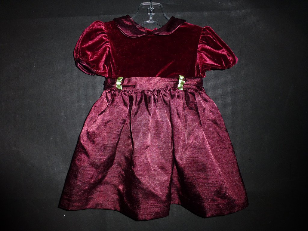 Youngland Baby Girl Red Velour Short Sleeve Dress 18 Months
