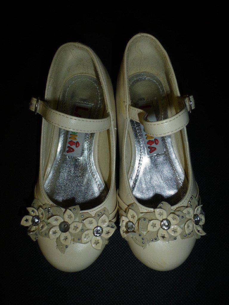 Lasonia Girls Beige Flower Mary Janes Heels Dress Shoes Size 6 Easter