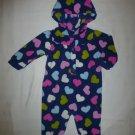 Carter's Baby Girls Blue Hooded Heart Fleece Romper Sleeper 6 Months Valentines