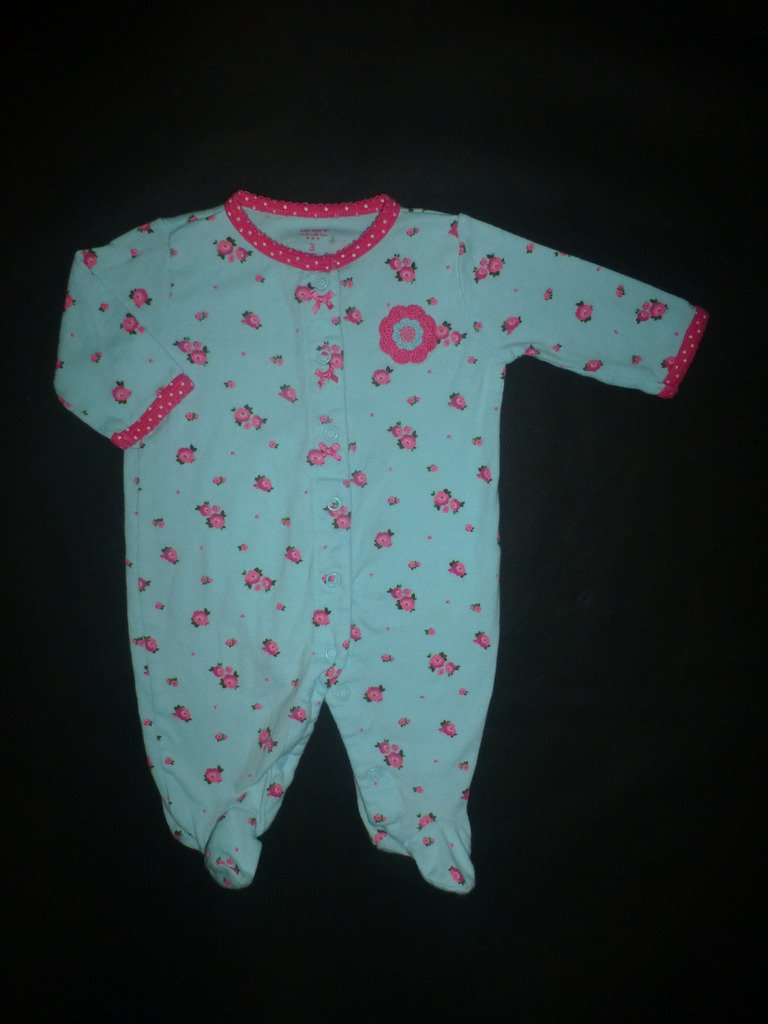 Carter's Baby Girl Blue Floral Footed Cotton Sleeper Pajamas 3 Months