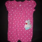Carter's Baby Girls Pink Polka Dot Mouse Short Sleeve Romper Sunsuit 24 Months