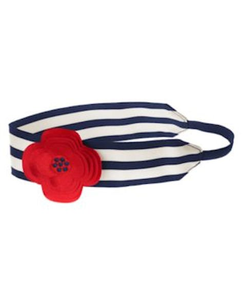 NWT Gymboree Brightest In Class Striped Red Flower Hair Headband 4th of July