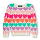 NWT The Cildren's Place Girls Neon Heart Print Valentine's Day Sweater 4T