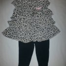 Carter's Baby Girl Gray Ruffle Animal Print Tunic & Leggings Outfit 6 Months
