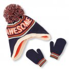 """NWT The Children's Place Baby Boys """"Awesome"""" Pom Pom Knitted Hat Mittens 6-12 M"""