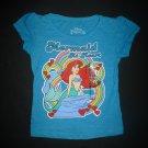 NWT Disney Princess Ariel Little Mermaid Baby Girl Blue Short Sleeve Shirt 18 M