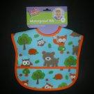 NWT Babies 2 Grow EVA Plastic Waterproof Blue Forest Animals Pocket Baby Bib