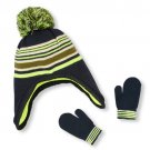 NWT The Childrens Place Baby Boy Black Green Knitted Fleece Hat Mittens 12-24 M
