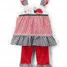 NWT Nannette Girls Ladybug Red Gingham Tunic Ruffle Leggings Outfit Set
