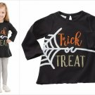 NWT Mud Pie Trick Or Treat Sequin Spiderweb Girls Black Halloween Tunic Shirt