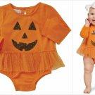NWT Mud Pie Pumpkin Baby Girls Tutu Crawler Bodysuit