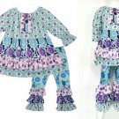 NEW Boutique Girls Blue Floral Ruffle Tunic Dress Leggings Outfit Set