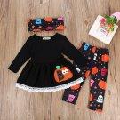 NEW Halloween Pumpkin Boo Long Sleeve Tunic Dress Leggings Headband Outfit Set