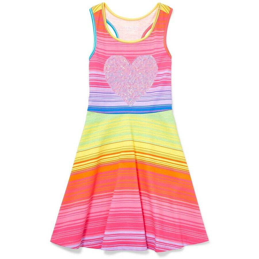 NWT The Childrens Place Girls Flip Sequin Heart Rainbow Striped Sleeveless Dress