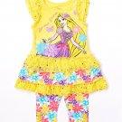 NWT Disney Tangled Princess Rapunzel Yellow Ruffle Tunic Leggings Girls Outfit