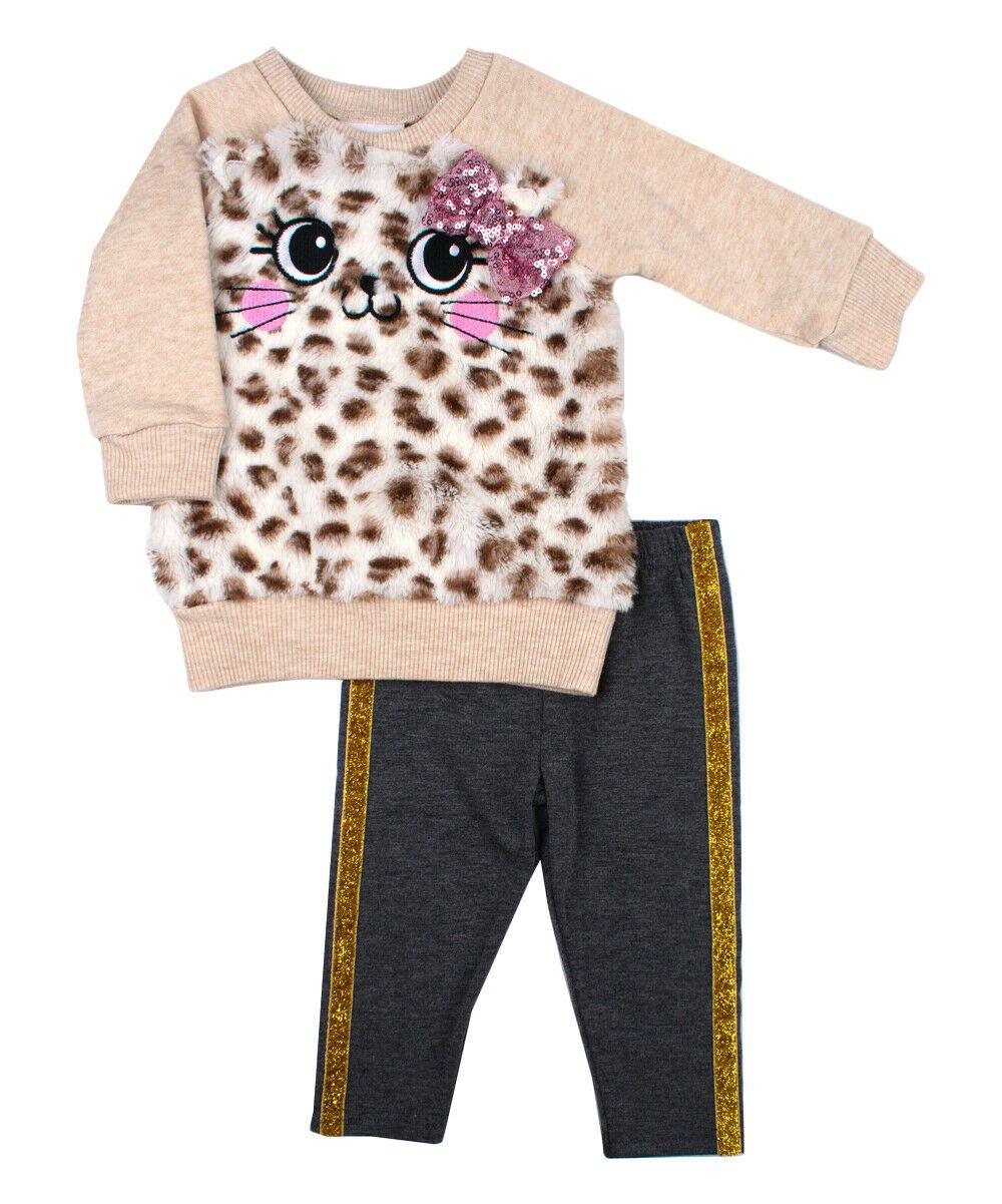 NWT Nannette Girls Leopard Kitty Cat Sweatshirt & Pants Outfit Set