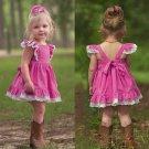 NWT Boutique Girls Pink Sleeveless Lace Hem Ruffle Dress 2T 3T 4T 5T