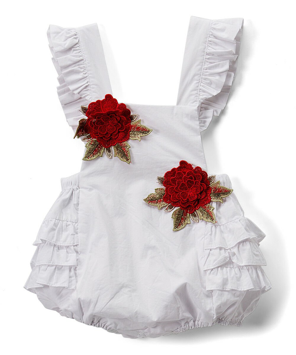 NEW Lil Cactus Baby Girls White Floral Ruffle Romper Sunsuit Jumpsuit 2T