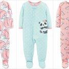 NWT Carters Unicorn Panda Sloth Toddler Girls Footed Jersey Sleeper Pajamas