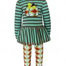 NWT Ann Loren Thanksgiving Pumpkin Ruffle Tunic Dress Leggings Outfit Set