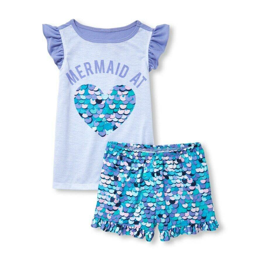 NWT The Childrens Place Mermaid at Heart Girls Blue Sleeveless Pajamas Set