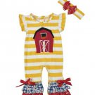 NEW Boutique Baby Girls Farm Barn Ruffle Romper Jumpsuit Headband Outfit Set