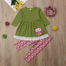 NEW Owl Girls Green Tunic Floral Leggings & Headband Outfit Set 2T 3T 4T 5T