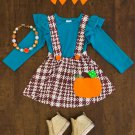 NEW Boutique Girls Pumpkin Plaid Suspender Skirt & Shirt Outfit Set