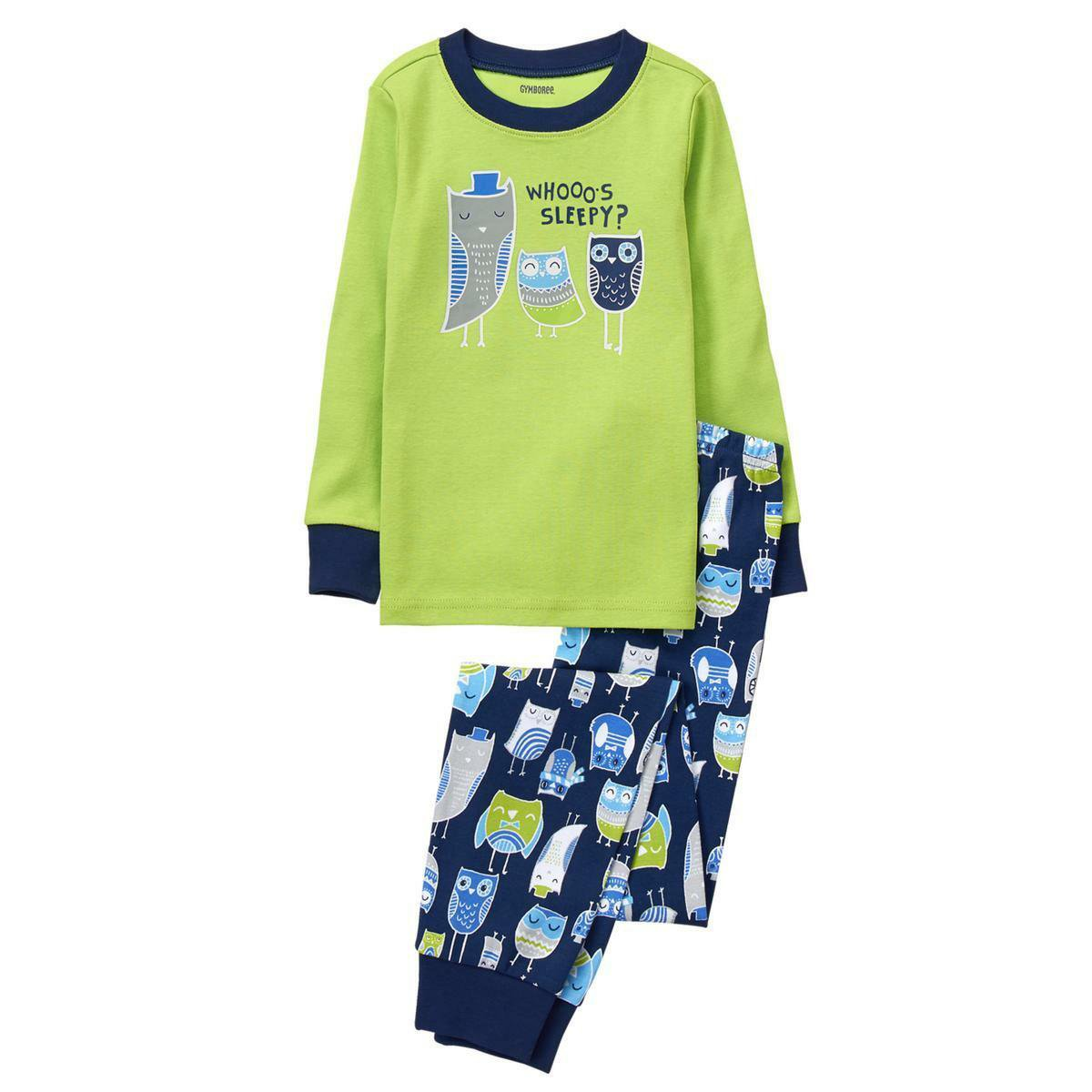 NWT Gymboree Boys Owl Long Sleeve Gymmies Pajamas 12-18 Months