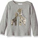 NWT Mud Pie Wild at Heart Giraffe Dazzle Sequin Girls Gray Long Sleeve Shirt