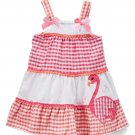 NWT Nannette Girls Flamingo Coral Pink Gingham Seersucker Sleevelerss Dress