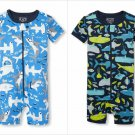 NWT The Childrens Place Shark Sea Animals Stretchie Romper Sleeper Pajamas