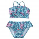 NWT Gymboree True Blue Summer Mermaid Baby Girl Ruffle Shimmer Bikini Swimsuit