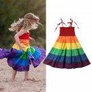 NWT Rainbow Girls Smocked Spaghetti Strap Twirl Dress 3T 4T 5T 6 7