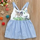 NWT Disney Bambi & Thumper Baby Girls Blue Striped Sleeveless Dress