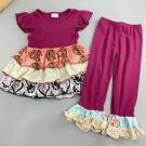 NEW Boutique Girls Purple  Ruffle Tunic Dress & Leggings Outfit 5-6 6-7 7-8