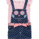 NWT Nannette Girls Owl Blue Denim Shortalls Overalls & Shirt Outfit Set