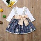 NWT Girls Owl Suspender Skirt Ruffle Long Sleeve Shirt Halloween Outfit Set