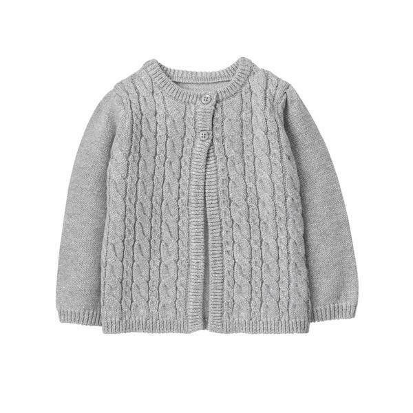 NWT Gymboree Tiny Team Gray Glitter Cable Knit Baby Girls Cardigan 6-12 12-18 24